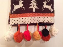 Brown Orange Dark Red White Striped Deer Reindeer Tree Knit Scarf w Pom Poms image 4