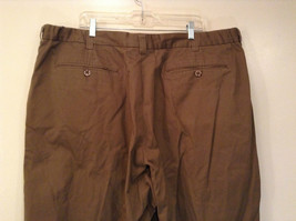 Brown Pleated Front Pants Elastic Inserts on Waist for Adjusting No Size Tag image 5