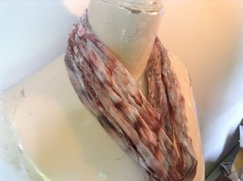 Brown Pink and White Sheer Stretchy Material Scarf 10 Inches by 70 Inches image 2