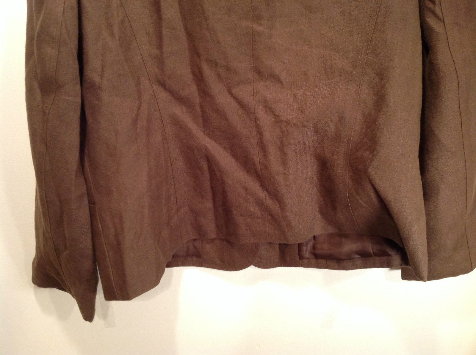 Brown Size 16 Talbots 100 Percent Linen Blazer Two Button Closure Two Pockets image 8