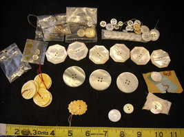 Collection of vintage buttons in whites and yellows large image 1