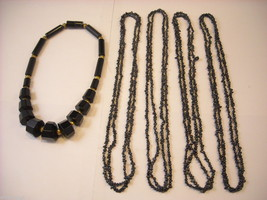 Collection of five black beaded necklaces vintage