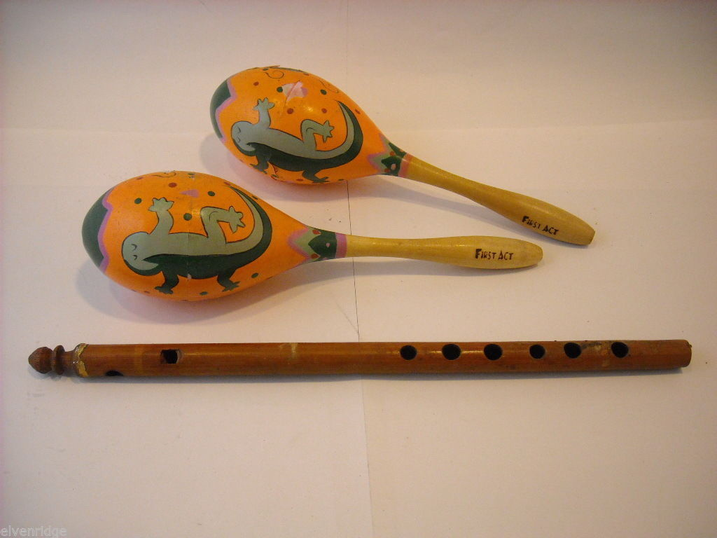 Collection of Wood Flute and wood lizard Maracas First Act vintage