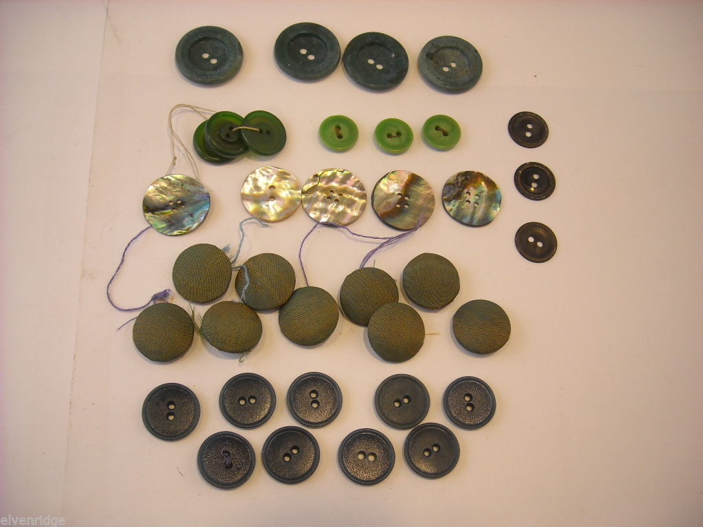 Collection of vintage buttons various materials shades of green