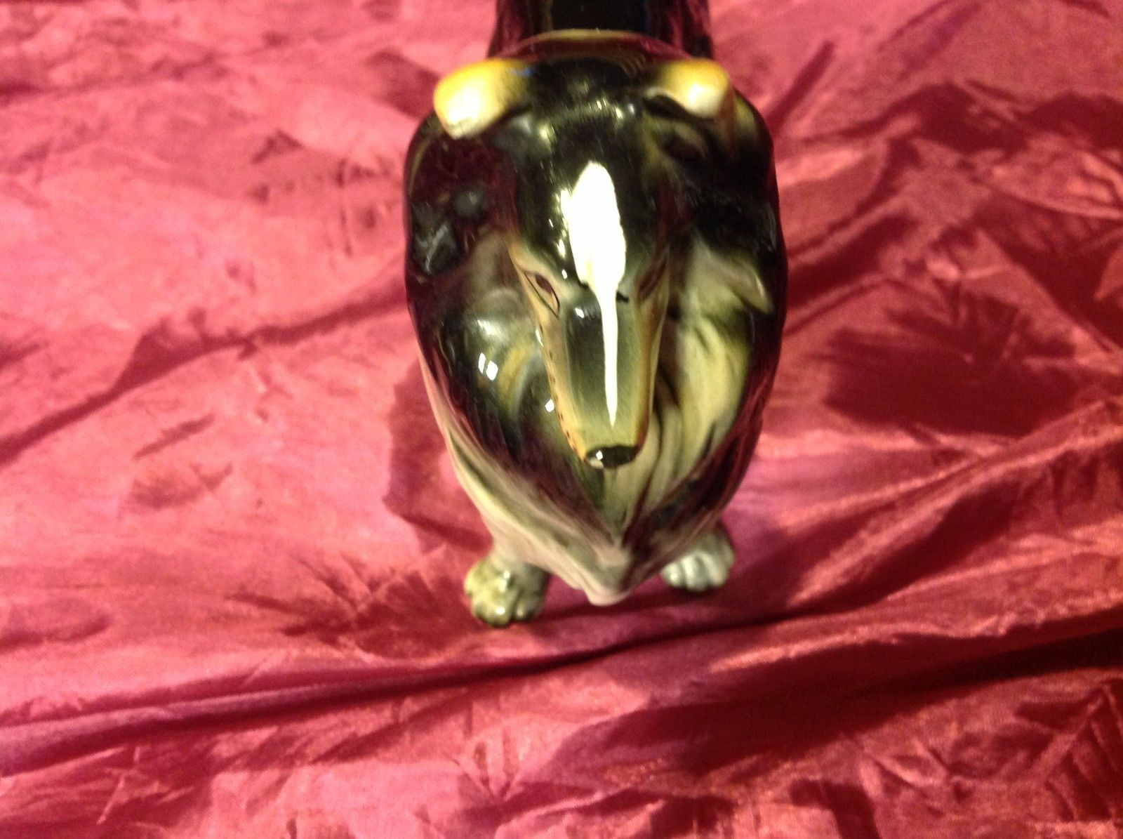 "Collie Dog 8"" figurine vintage ceramic figure tri color from estate"
