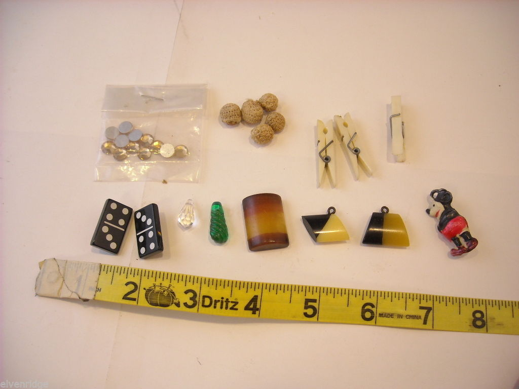Collection of vintage buttons and pendant mickey mouse dominoes
