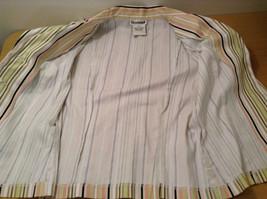 Byer wear Size M Green Light Green Black Red Beige Striped Light Blazer Jacket image 9
