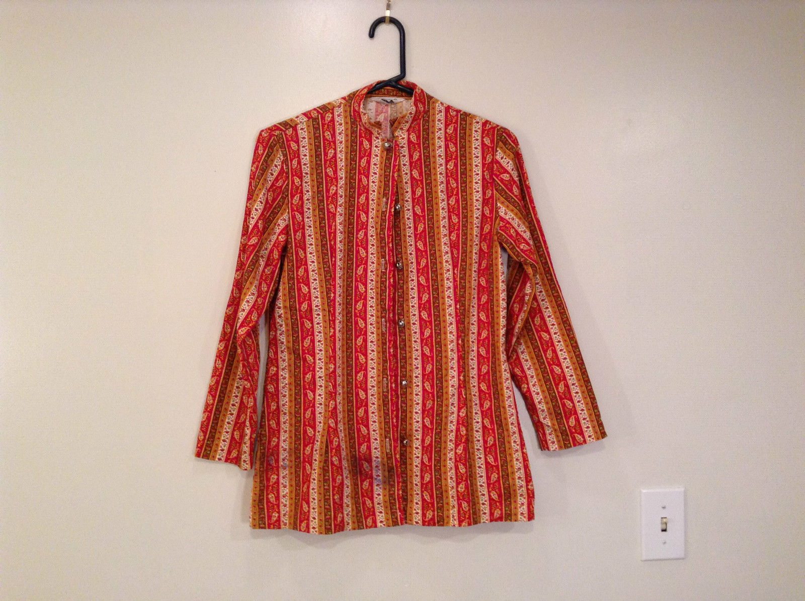 Couture Size 34 Long Sleeve Fun Shirt with Ringing Bells Front Closure