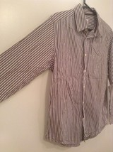Brown and White Striped Old Navy Long Sleeve Button Up Cotton Shirt Size M image 2