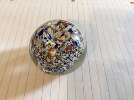Colorful Round Blown Glass Paperweight Murano Goes Well In Any Setting - $29.69