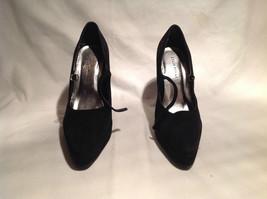 Collin Stuart High Heels Black Size 6 Pointed Toe Strap Across Front 5 Inch Heel