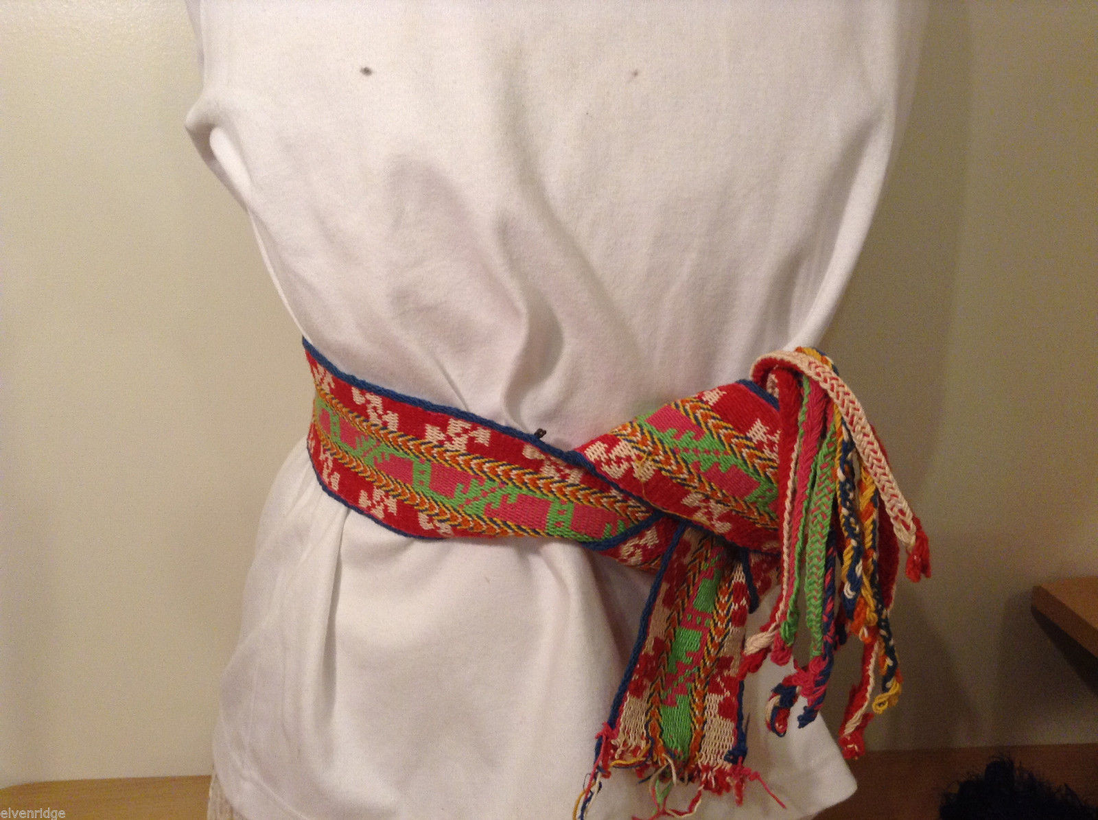 Colorful handmade tribal waistband belt or scarf