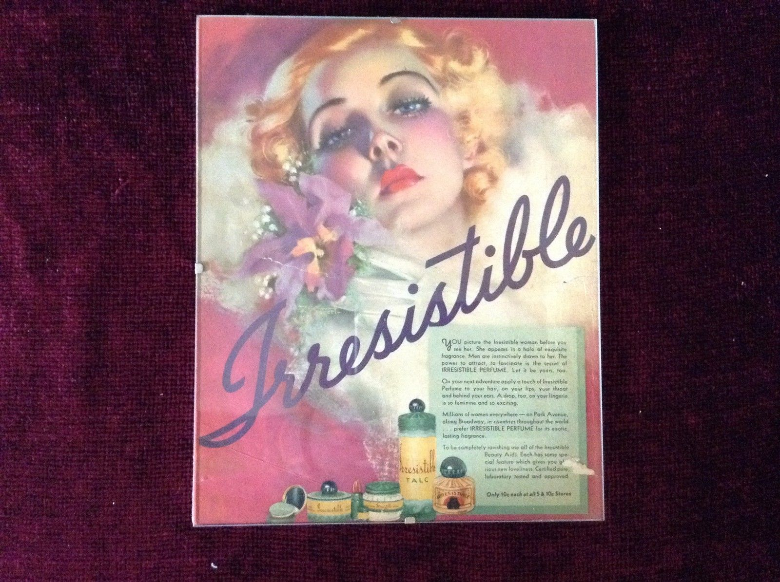 Colorful Vintage Irresistible Perfume Poster 8 Inches by 10 Inches