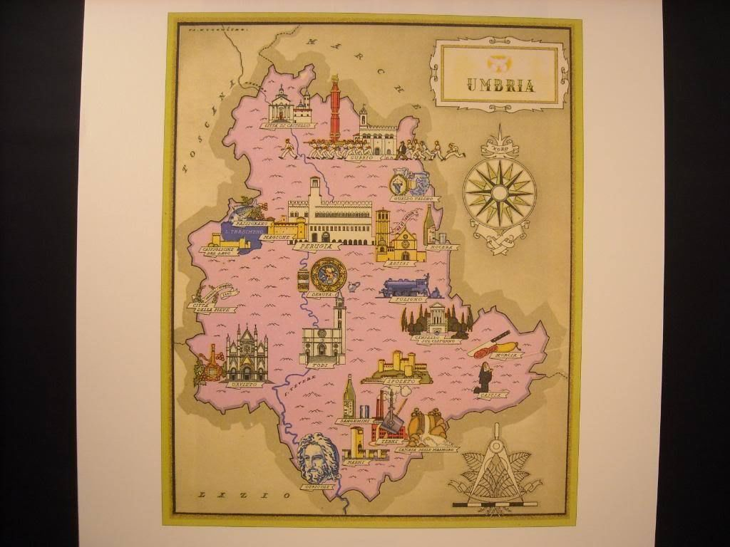 Colorful reprint Illustrated Map of Umbria