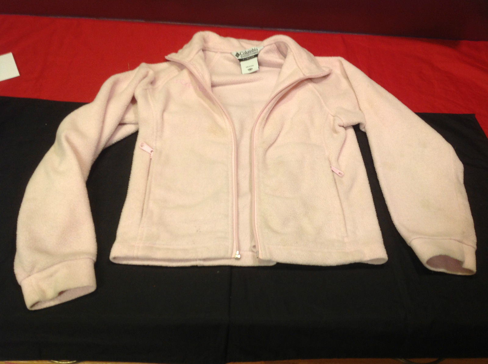 Columbia Sportswear Light Pink Youth Sweater Zipper Does NOT Work Size 10/12
