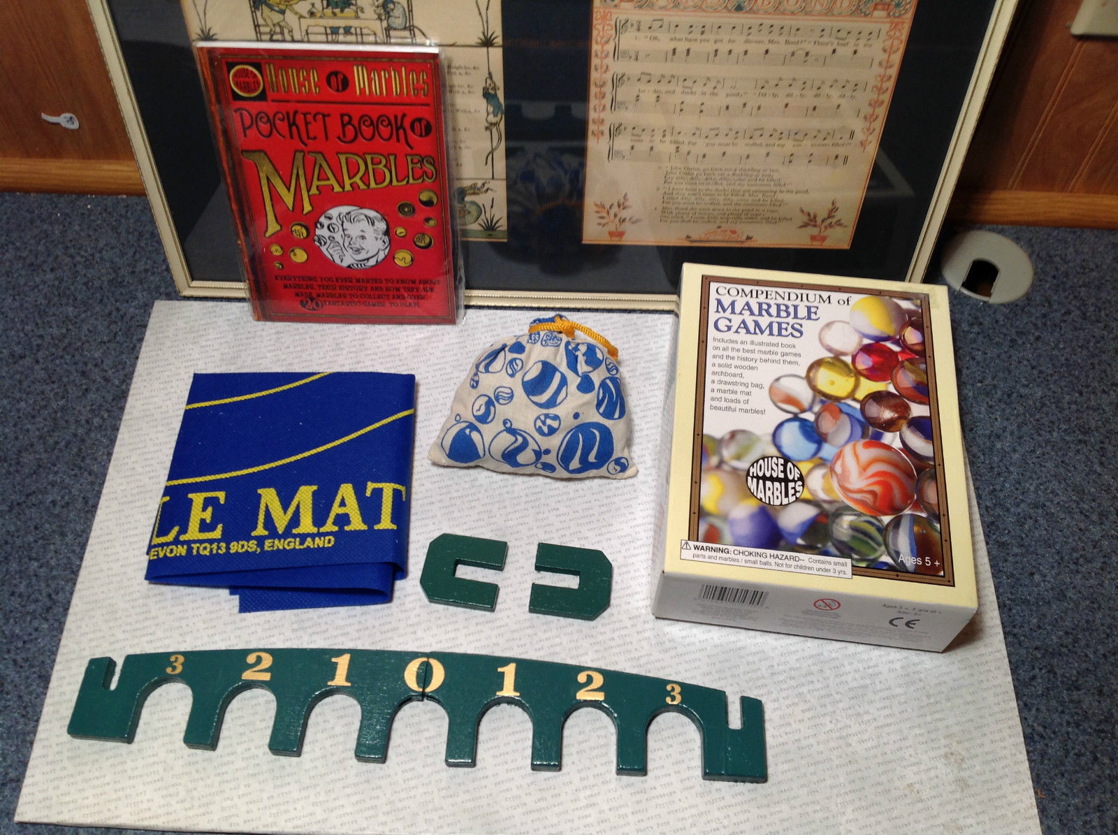 Compendium of Marble Games with Book Arch Board and Marbles NIB
