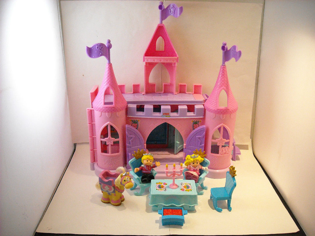 Complete Fisher Price Little People Castle Set pink w doll figures