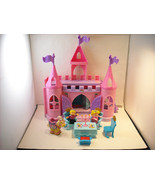 Complete Fisher Price Little People Castle Set pink w doll figures - $59.39