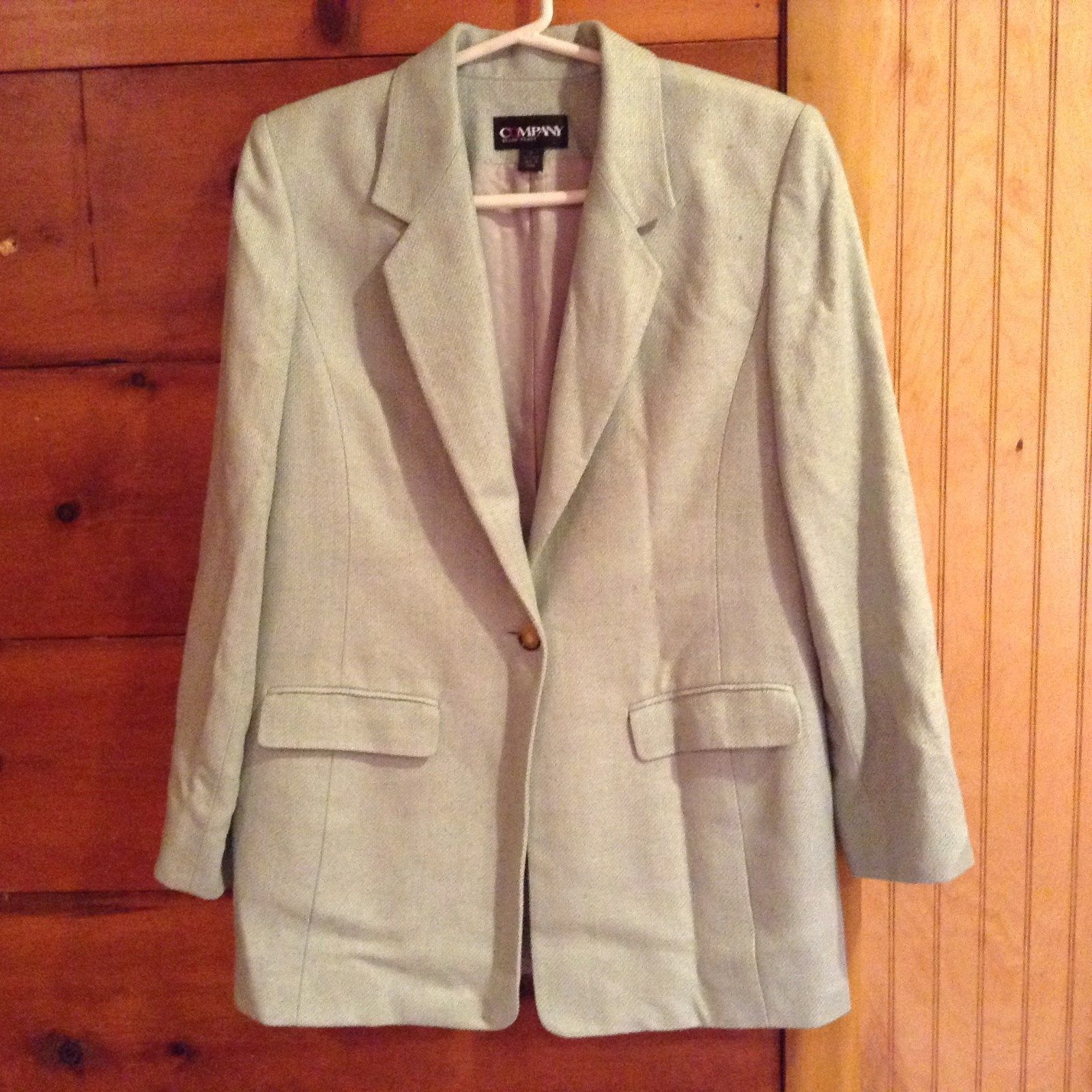 Company Ellen Tracy Light Green Size 4 Blazer Shoulder Pads 100 Percent Silk