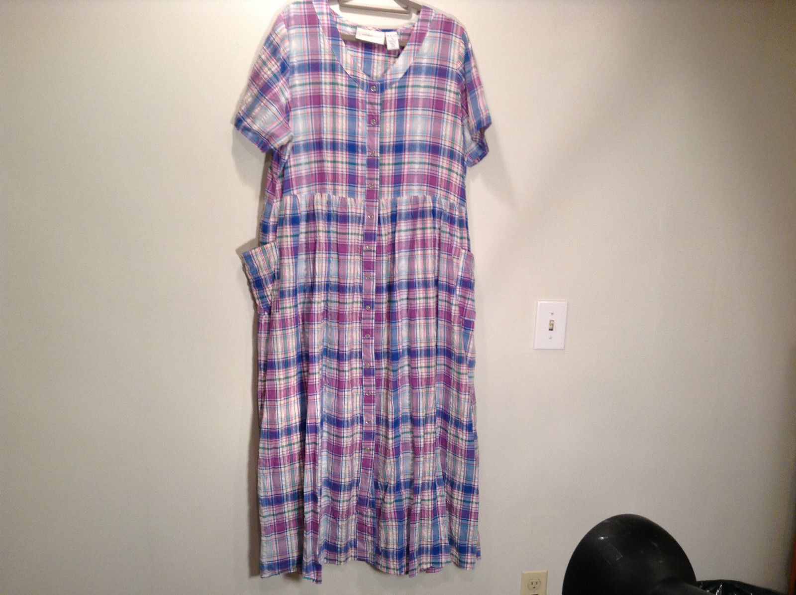 Comfort Choice Size Medium Plaid Long Cotton Dress Front Pockets Button Closure
