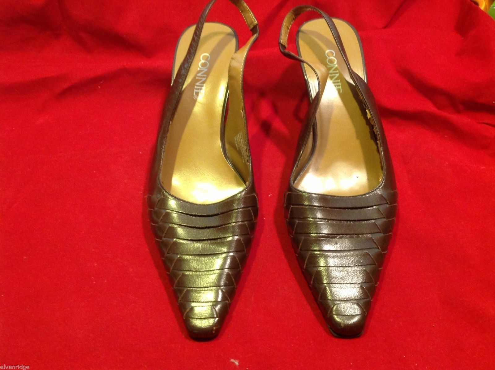 Connie Brown size 7 sling back low heels in shiny brown  womens shoes