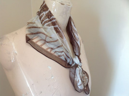 Brown Tan White Wavy Strip Square Scarf Light Weight Material Hanfei image 3