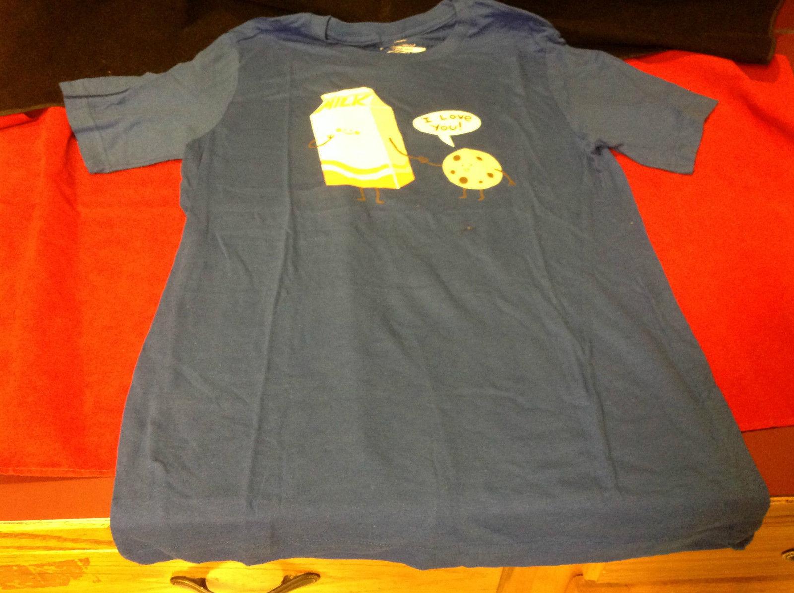 Cookies Loves Milk Guys Blue Medium Size T-Shirt Threadless I Love You