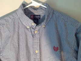 Button Down Long Sleeve Shirt with Collar Striped White and Gray Chaps Size XL image 2