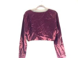 CDC Petites Burgundy Short Shiny Long Sleeve Blouse Size 8 Made in USA image 4