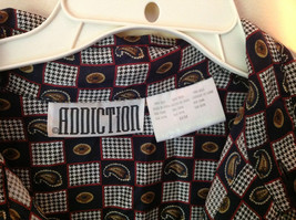 Button Up Black and White Checkers Silk Shirt by Addiction Size Medium 1 Pocket image 4