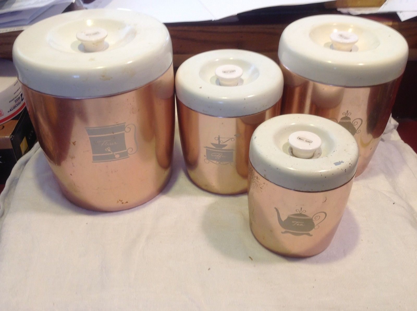 Copper West Bend 8 piece kitchen canister set