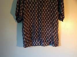 Button Up Black and White Checkers Silk Shirt by Addiction Size Medium 1 Pocket image 2