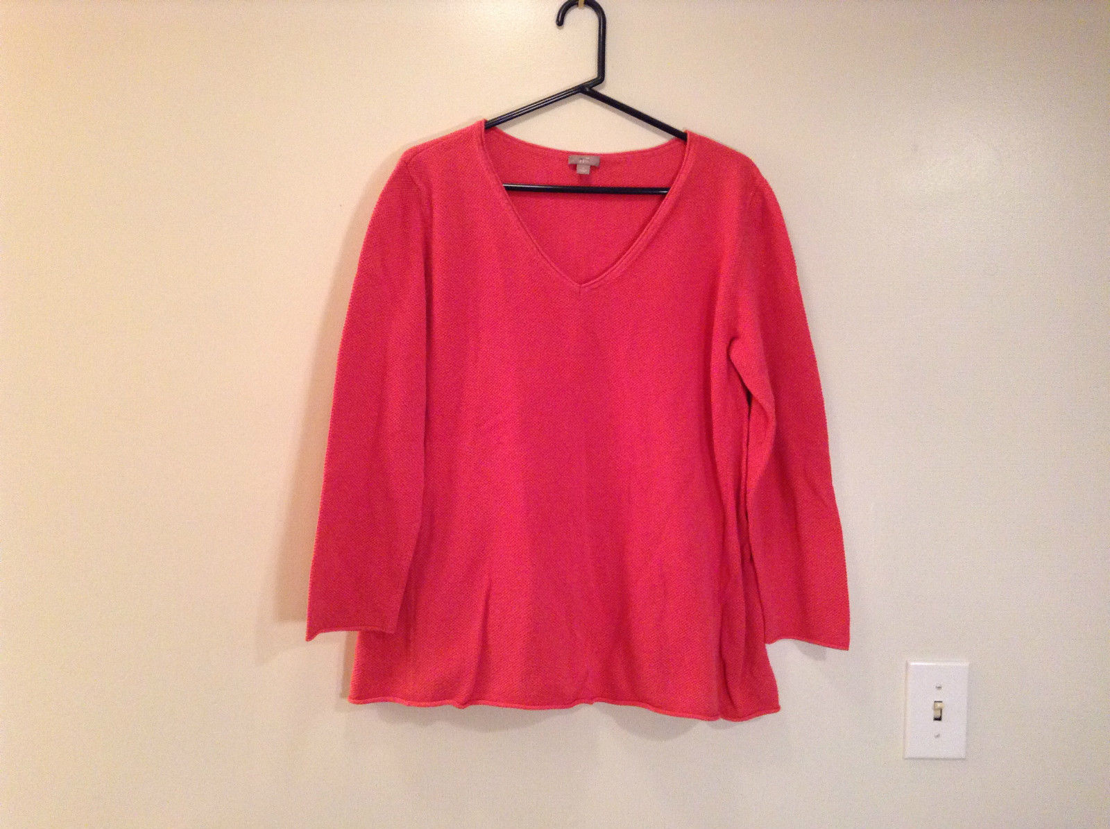 Coral Colored Long Sleeve V Neck Top by J Jill Sizes Large 65 Percent Cotton