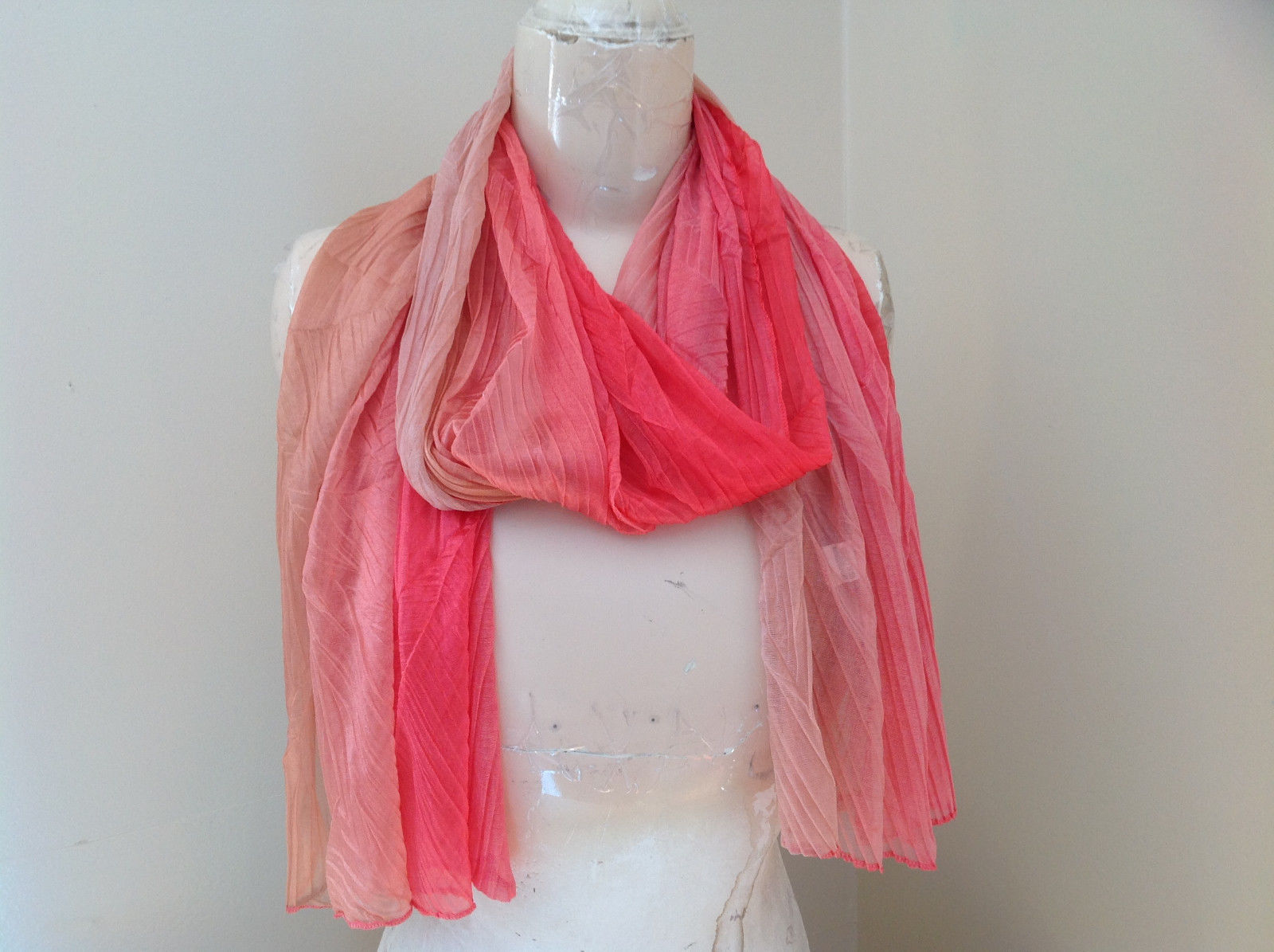Coral Tan Watercolor Scrunched Pleated Style Fashion Scarf