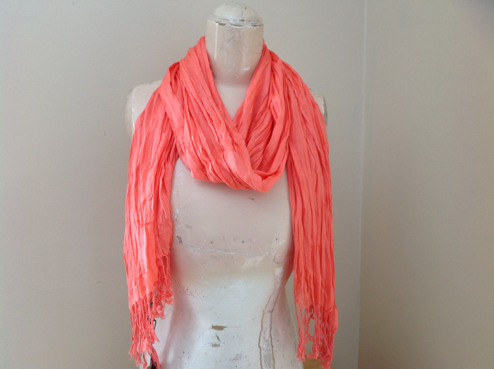 Coral Color Silk Cotton Scrunch Style Scarf with Tassels by Look Tag Attached