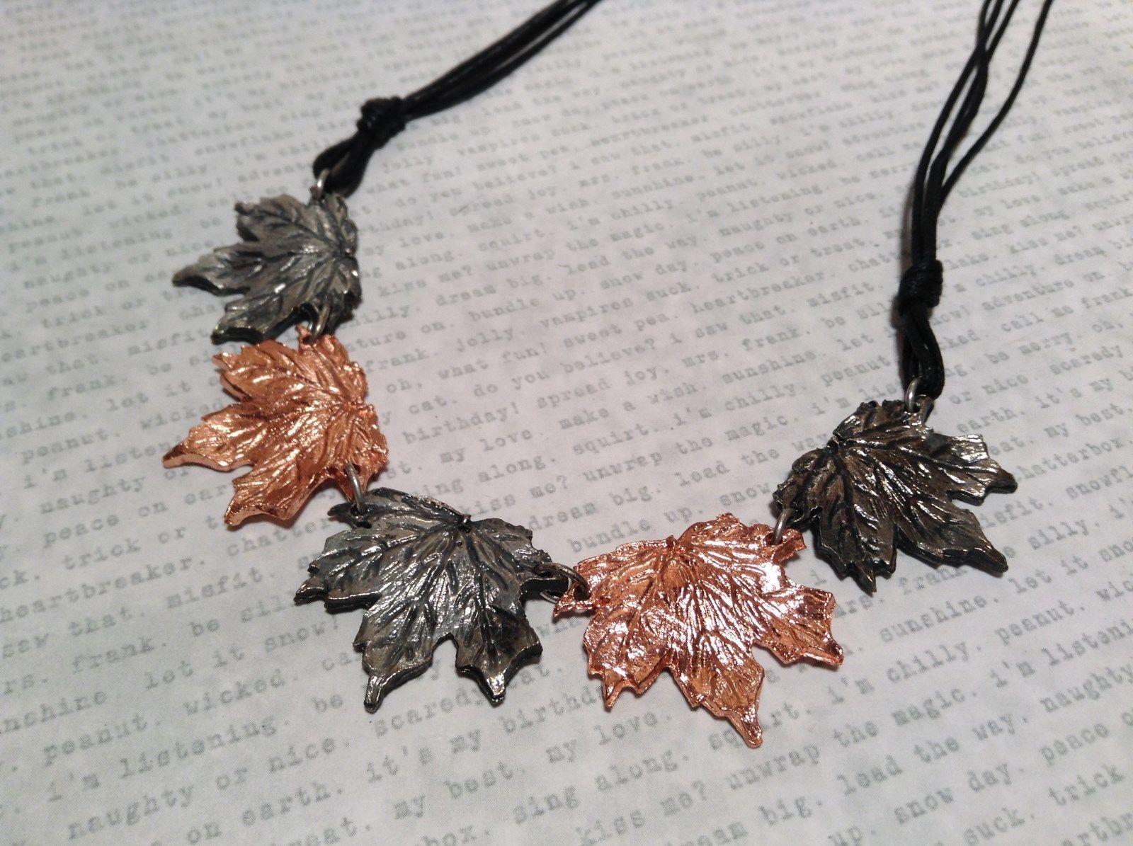 Copper Vintage Pewter Necklace Earring Set Handcrafted Lobster Clasp Maple Leaf