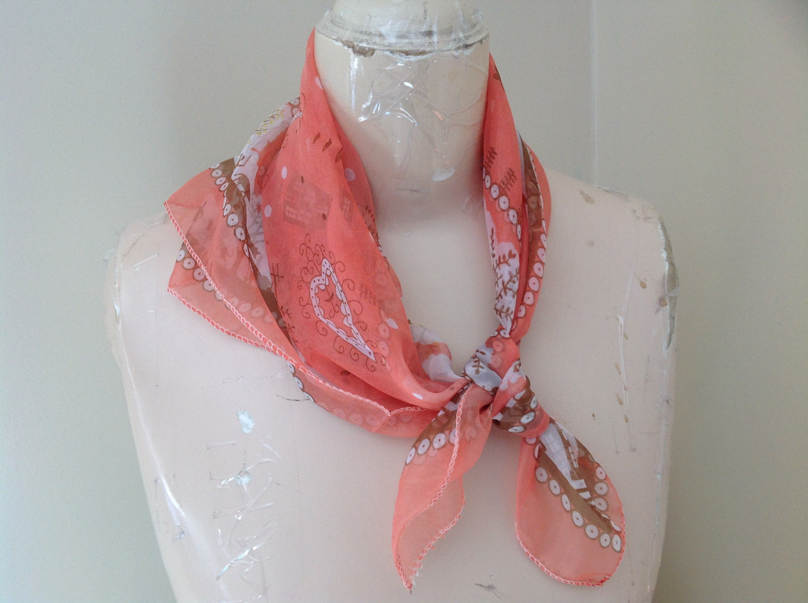 Coral White House Scene Design Silk Blend Square Fashion Scarf Made in China