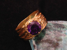 CZ amethyst 14K Gold Plated Sterling Silver Textured Band Size Choice 7 or 8 image 6