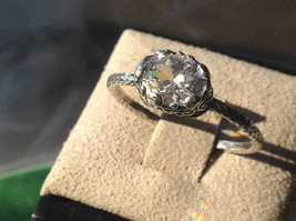 CZ Cubic Zirconia Glittering Sterling Silver Faceted Ring Size 8 image 7