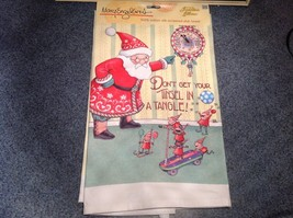 Cotton kitchen Towel Santa and the elves Don't Get your Tinsel in a Tangle