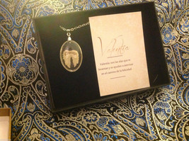 Courage Spanish Valentia angel wings pendant w saying in  Espanol w gift box image 1