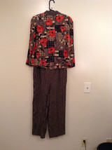 Carole Little Petites Blouse and Pant Set Abstract Print with Brown Red Flowers image 2