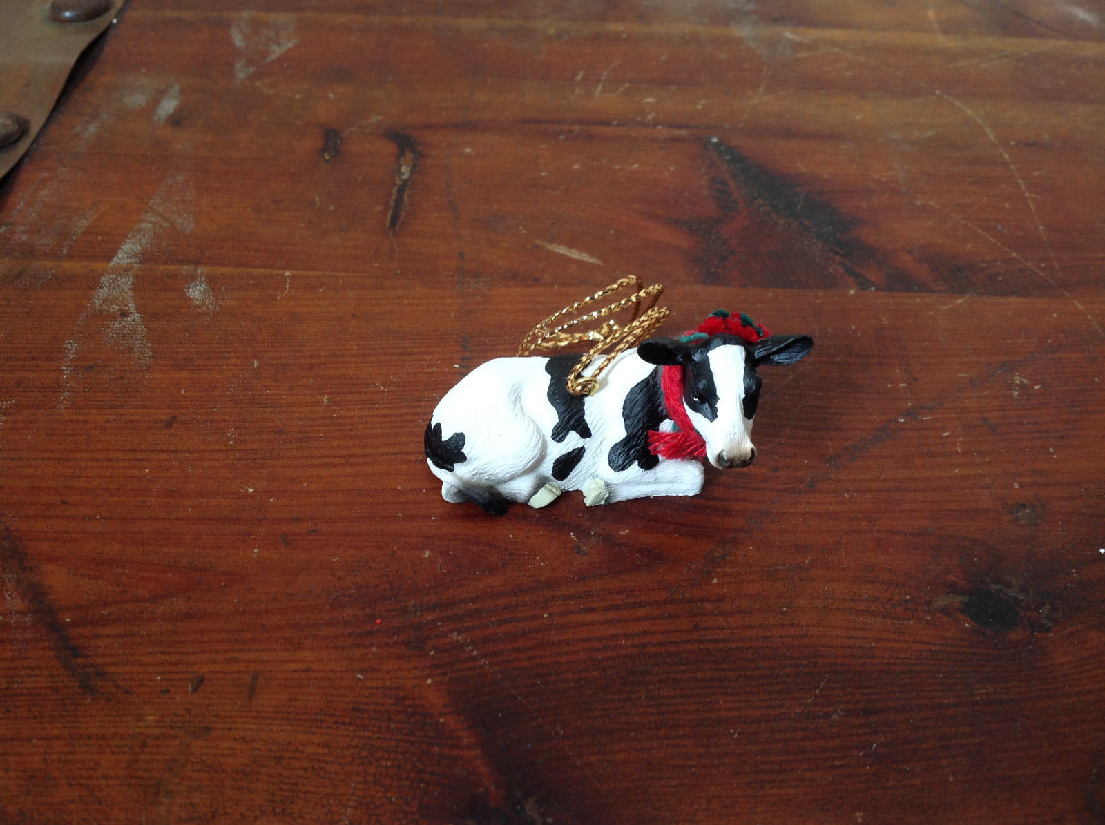 Cow with Scarf on Neck Ornament Gold Colored String for Hanging