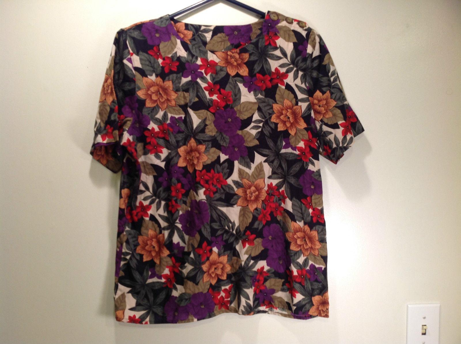 Cristin Stevens Multicolored Floral Short Sleeve Top Button Closure on Shoulder