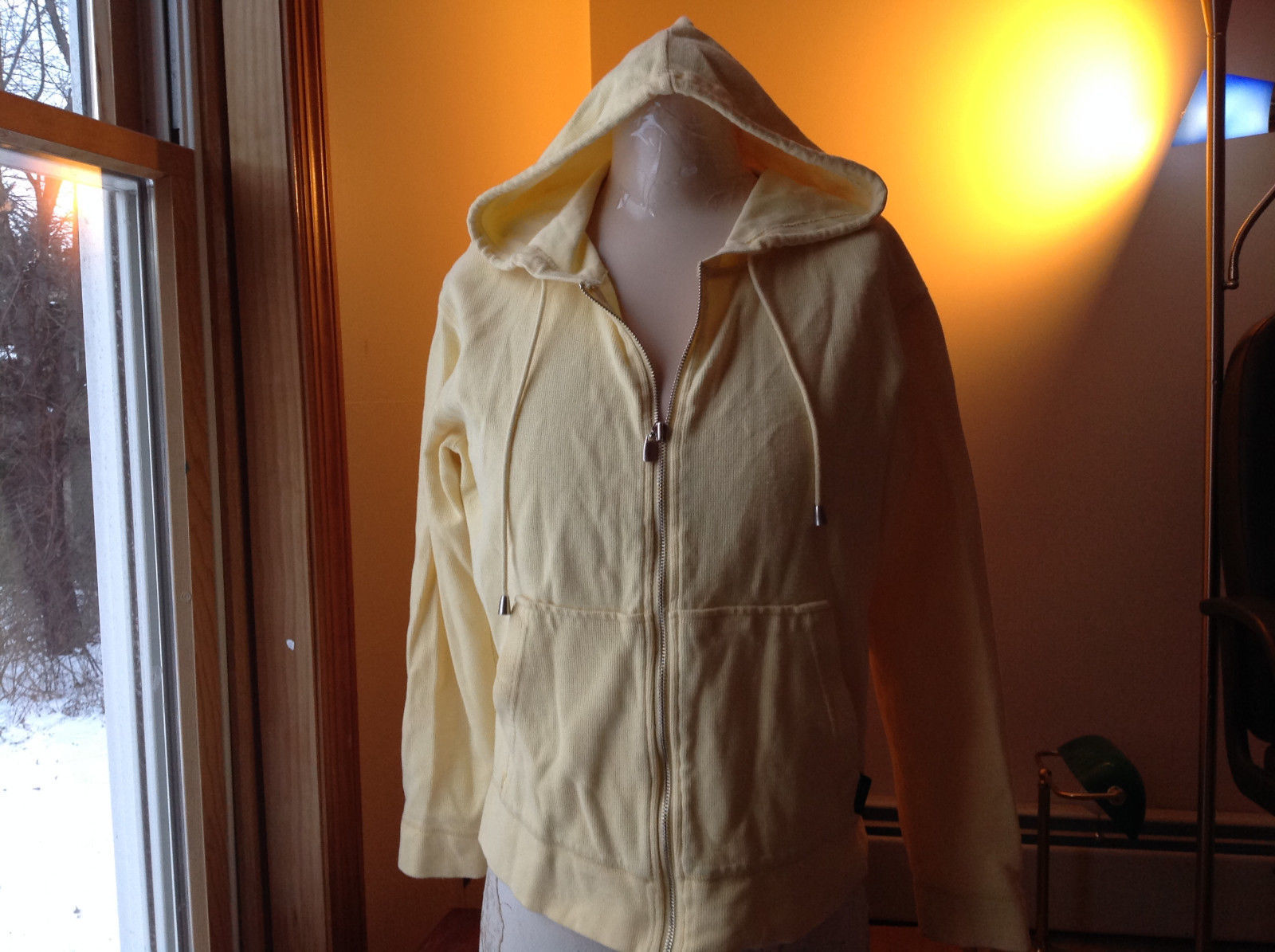 Crazy Horse Liz Claiborne Yellow Zip Up Long Sleeve Hooded Jacket  Size Small
