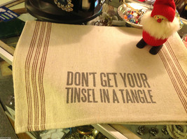 Canvas Burlap Pillow primitive w Don't Get your Tinsel in a Tangle holiday image 2