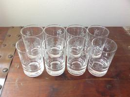 Crystal Juice Glasses Set of Eight Handmade Copper Wheel Engraving