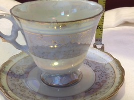 Cup saucer set gray opal pedestal w florals gold trim National Potteries