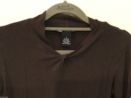 Carole Little Brown Mock with Knot Neck Stretchable Rayon Blouse Top, Size S image 2