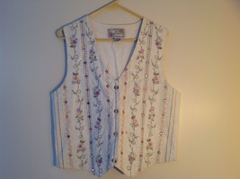 Cream Flower Decorated Button Up Vest Tie in Back by New Directions S Medium